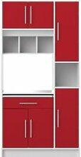 Buffet de cuisine LOUISE Blanc et Rouge 91 X 180
