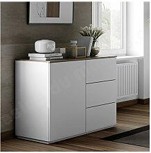 Buffet design 1 porte et 3 tiroirs, finition blanc