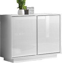 Buffet design 2 portes blanc laqué brillant L92