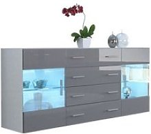 Buffet  design  blanc mat et  gris laqué avec led