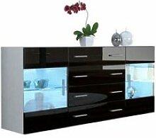 Buffet  design  blanc mat  et noir laqué avec led