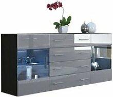 Buffet  design noir mat  et gris laqué avec led
