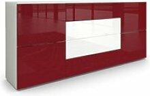 Buffet dressoir Rova en Blanc mat - Bordeaux haute