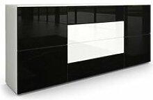 Buffet dressoir Rova en Blanc mat - Noir haute