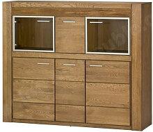 Buffet en chêne, 2 portes vitrées, 4 portes,
