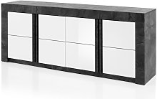 Buffet ESSIA - 4 portes - Aspect ardoise et blanc