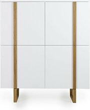 Buffet haut 4 portes en bois blanc