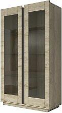 Buffet haut 6 étagères en verre avec vitrine -