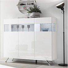 Buffet haut blanc et noir design avec LED ROSINI 3