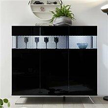 Buffet haut LED noir laqué design CASTELLI 7