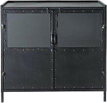 Buffet indus vitré en métal noir L 87 cm