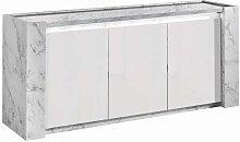 Buffet SABAN - 3 portes - Avec LEDs - Blanc laqué
