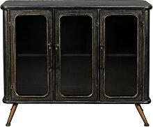 Buffet style industriel en métal noir patiné