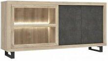 Buffet / vitrine finition chêne et béton gris