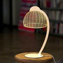 BULBING DOME-Lampe à poser LED Blanc & Bois H42cm
