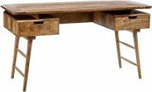 Bureau 2 tiroirs bois exotique - tiznit - l 145 x