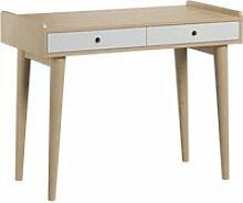 Bureau 2 tiroirs retro - bois blanc