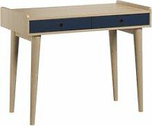 Bureau 2 tiroirs retro - bois bleu