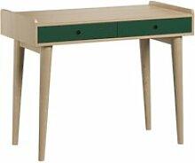 Bureau 2 tiroirs retro - bois vert