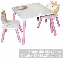 Bureau avec chaise enfant design Licorne - Blanc
