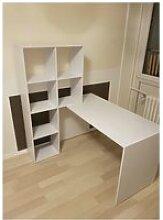 Bureau  avec étagère  blanc