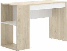 Bureau avec étagère et 1 tiroir naturel et blanc