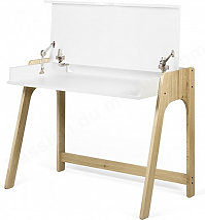 Bureau avec pupitre, blanc et chêne, Gamme AURA