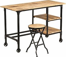 bureau avec tabouret pliant bois de manguier