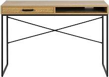 Bureau avec tiroir et rangement en métal et bois