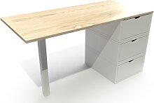 Bureau bois 3 tiroirs Cube Vernis naturel/Blanc