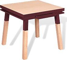 Bureau carré en bois massif avec tiroir rouge de