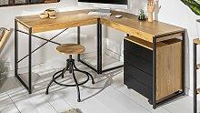 Bureau d'angle industriel bois clair et métal