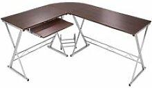 Bureau d'angle informatique meuble marron 170