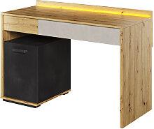 Bureau design ado QUBIC avec éclairage Chêne