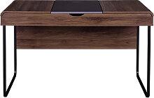 Bureau design avec plateau coulissant bois et gris