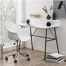 Bureau design - brova - 100 cm - blanc / noir -