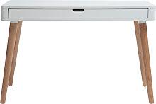 Bureau design scandinave blanc et bois L115 cm