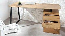Bureau droit design industriel bois de chêne