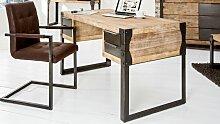 Bureau droit design industriel bois et métal gris