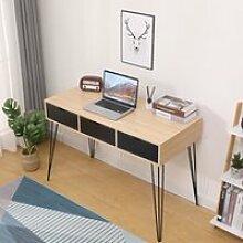 Bureau droit table de bureau Bois et Noir- style