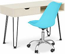 Bureau en bois Design pieds Hairpin style