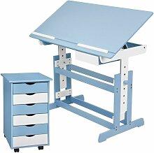 Bureau enfant avec caisson meuble bleu - Bleu