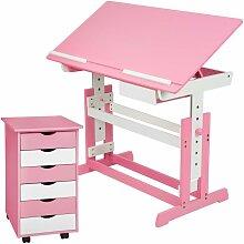 Bureau enfant avec caisson meuble rose - Rose