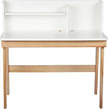 Bureau enfant blanc et bois L105 cm KUNG