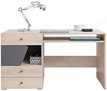 Bureau enfant en bois chêne clair et gris, 2