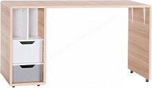 Bureau enfant en bois, tiroirs, niches, roulette,