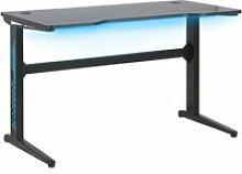 Bureau gamer éclairage led 120 x 60 cm noir doran