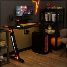 Bureau gaming avec éclairage LED, support pour