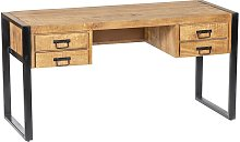 Bureau HARLEM - 4 tiroirs - Bois de manguier &