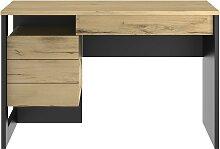 Bureau industriel avec 1 porte et 1 tiroir - Marron